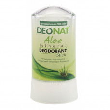 Дезодорант-стик минеральный   С ЭКСТРАКТОМ АЛОЭ   и глицерином, белый   60g DeoNat